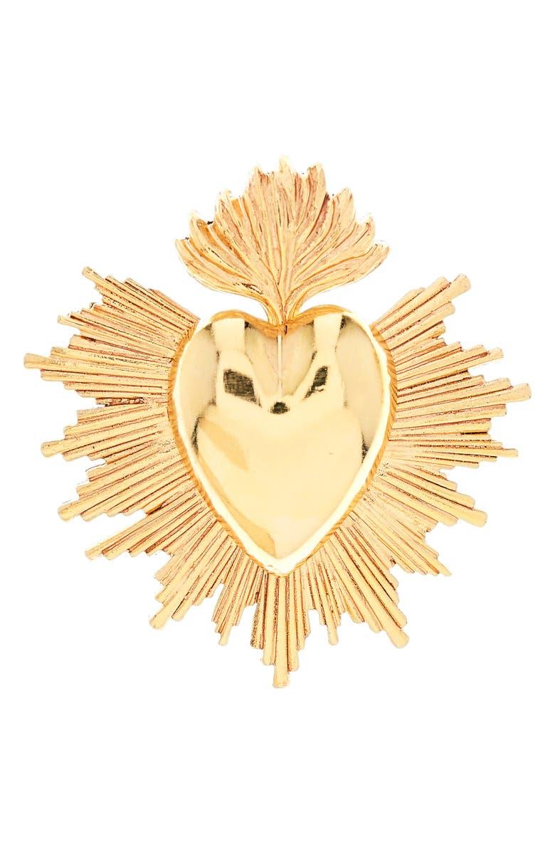 OSCAR DE LA RENTA Sacred Heart Brooch, Main, color, GOLD