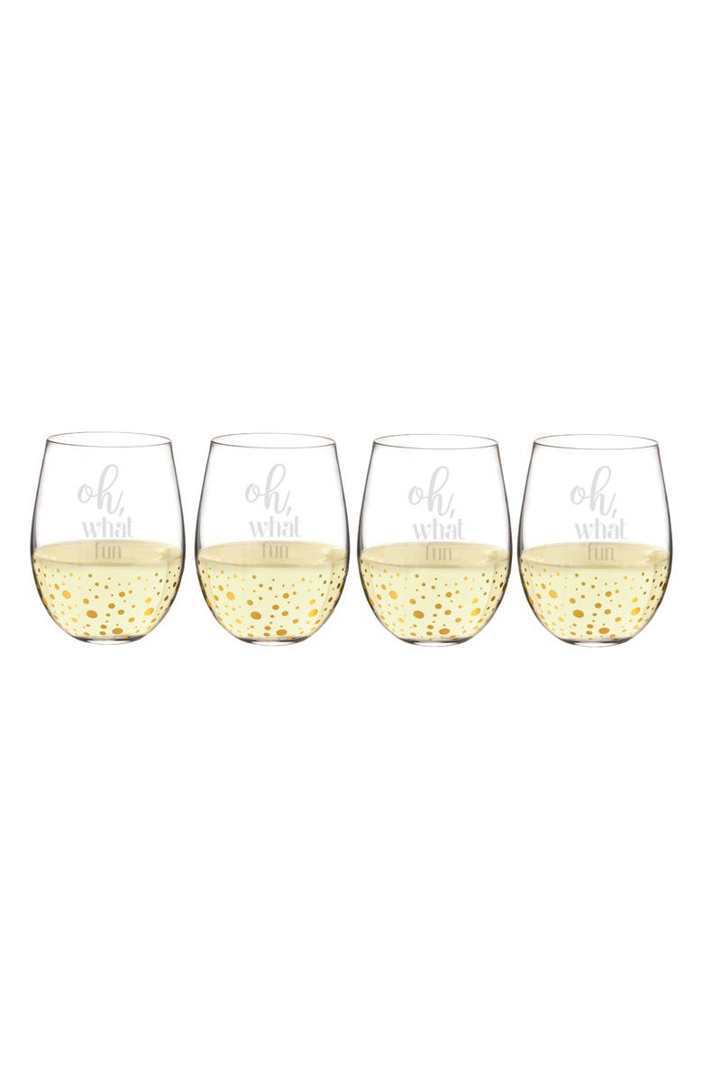 CATHY'S CONCEPTS Oh What Fun Set of 4 Stemless Wine Glasses, Main, color, 710