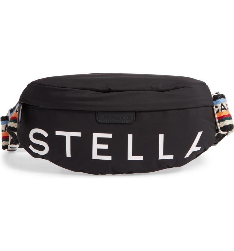 STELLA MCCARTNEY Go Eco Padded Belt Bag, Main, color, BLACK
