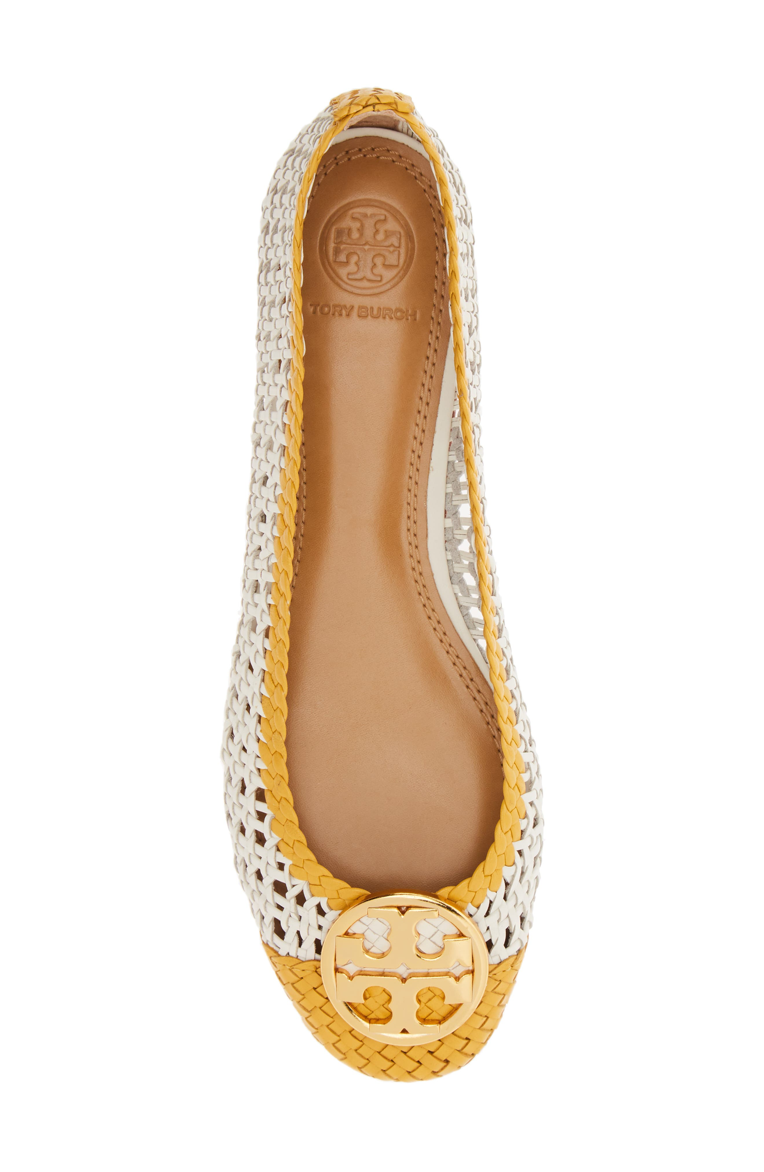 ,                             Chelsea Woven Ballet Flat,                             Alternate thumbnail 5, color,                             PERFECT IVORY/ DAYLILY