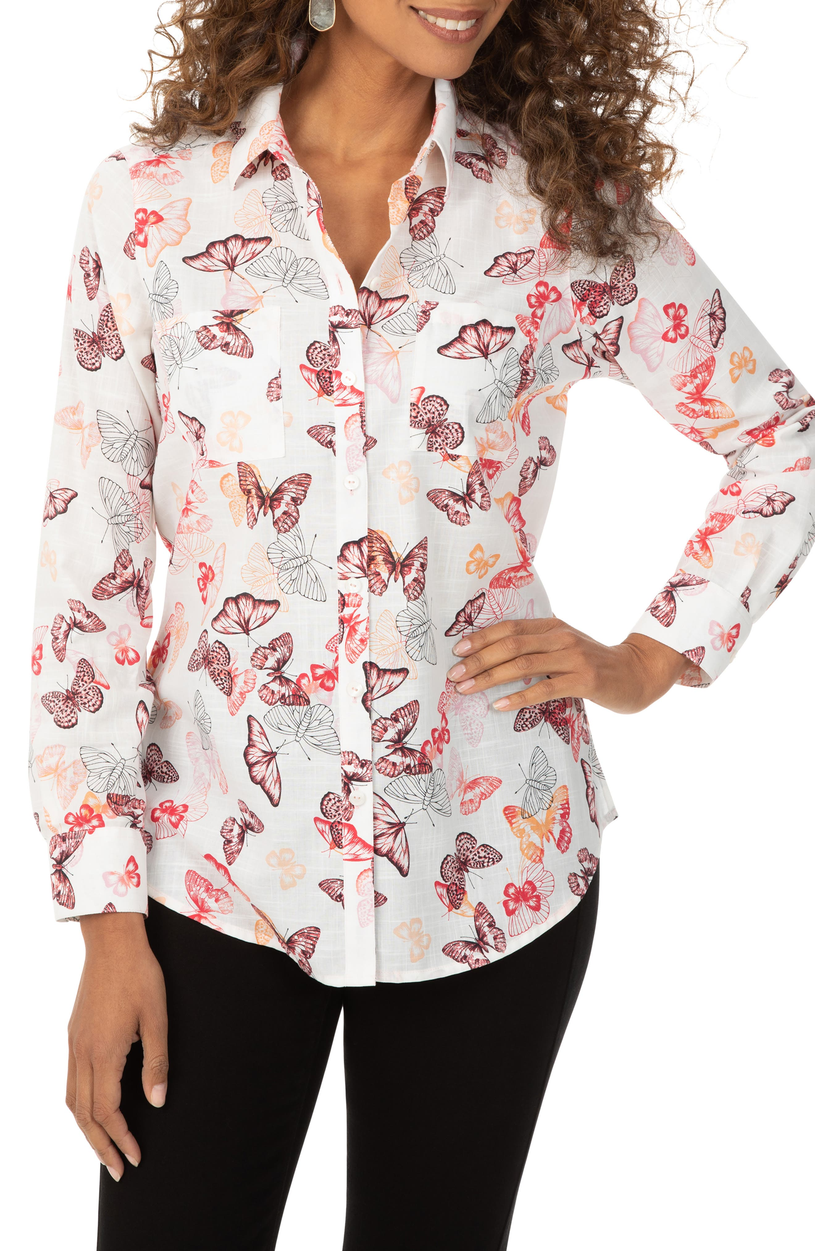 Zoey Butterfly Print Button-Up Shirt