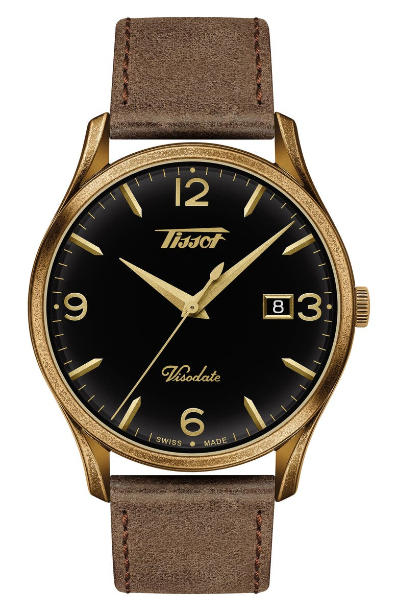TISSOT Heritage Visodate Leather Strap Watch, 40mm, Main, color, BROWN/ BLACK/ BRASS