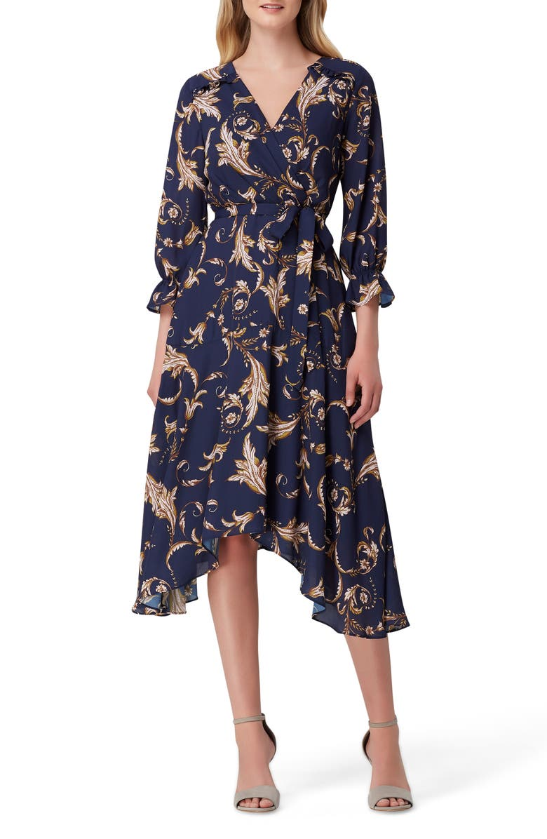 Print Faux Wrap Dress by Tahari