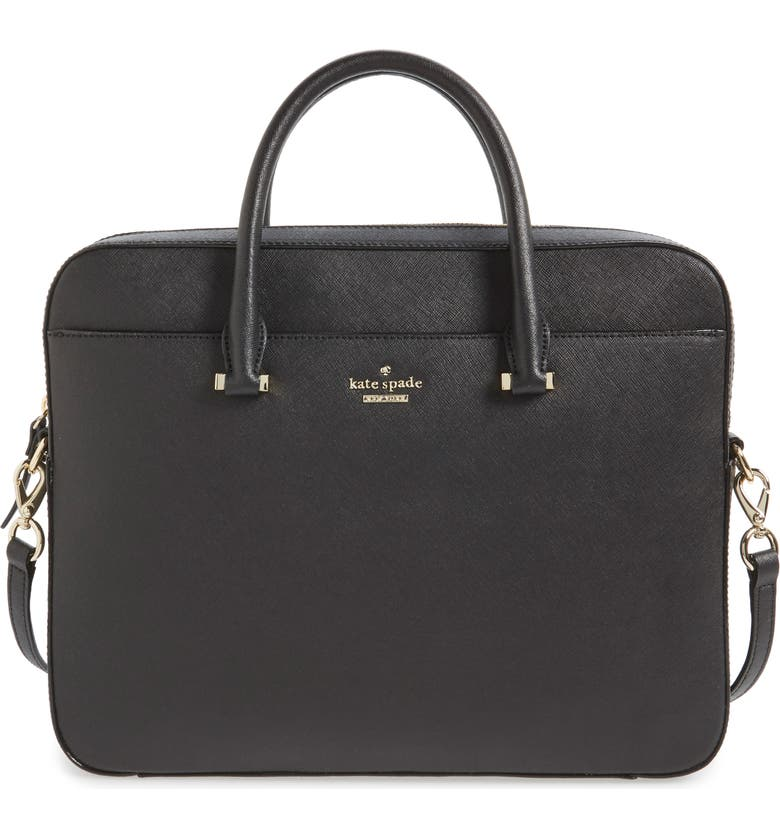 KATE SPADE NEW YORK saffiano leather 13 inch laptop bag, Main, color, 001