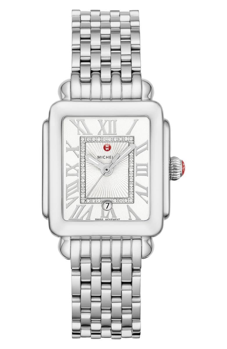 MICHELE Deco Madison Diamond Dial Watch Head & Bracelet, 29mm x 31mm, Main, color, SILVER