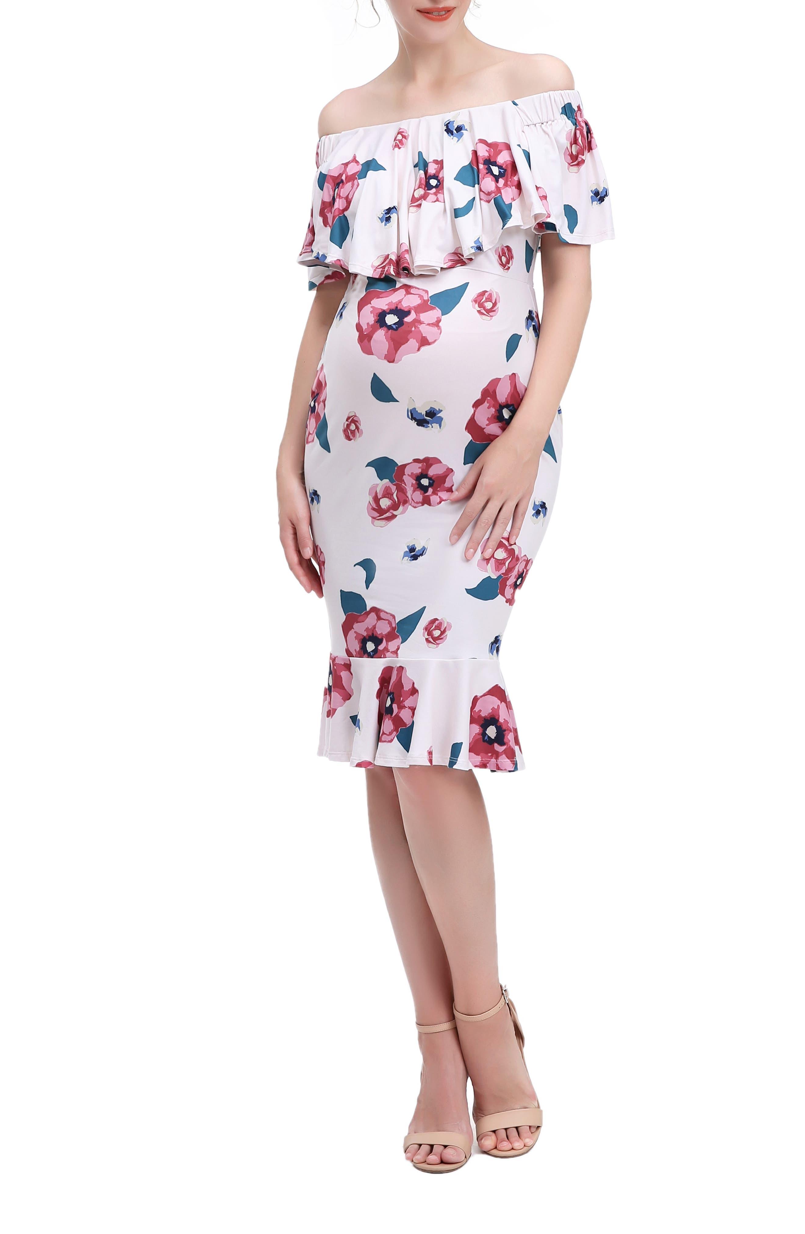 Kyla Floral Mermaid Hem Maternity/nursing Dress