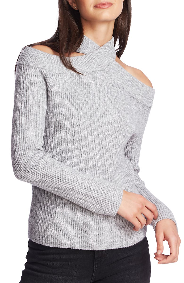 1.STATE Cross Neck Cold Shoulder Cotton Blend Sweater, Main, color, SILVER HEATHER
