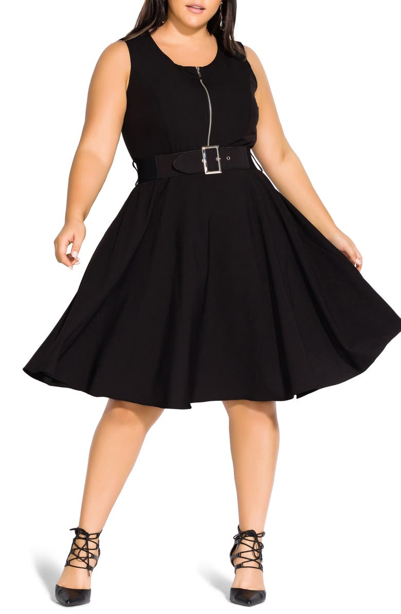 CITY CHIC Veronica Fit & Flare Dress, Main, color, BLACK