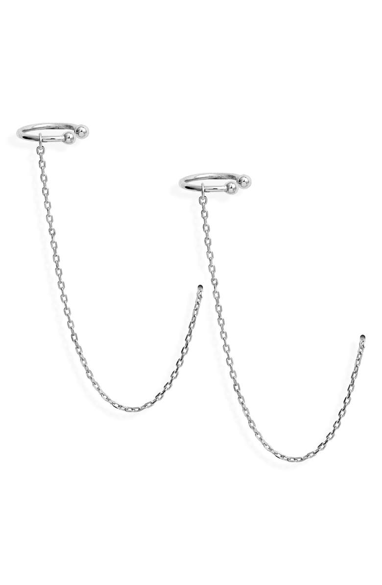 STERLING FOREVER Ear Cuff Threaders, Main, color, SILVER