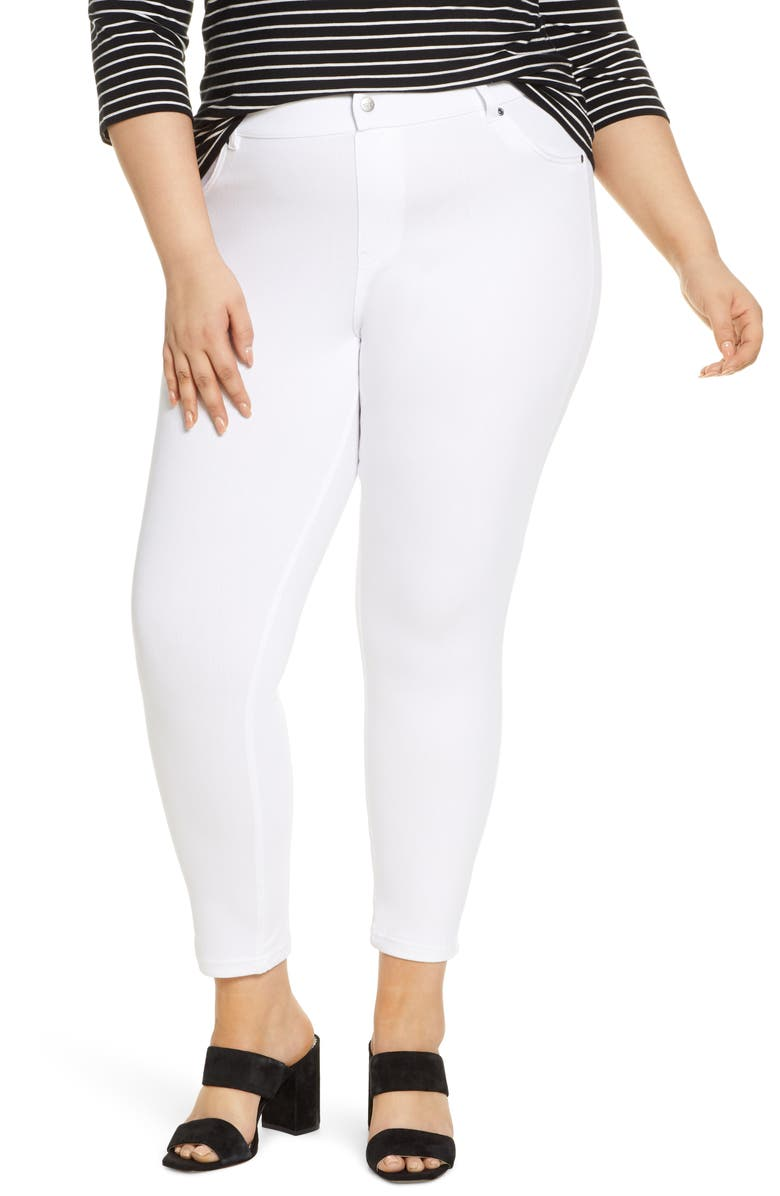 HUE High Waist Ultrasoft Denim Skimmer Pants, Main, color, WHITE