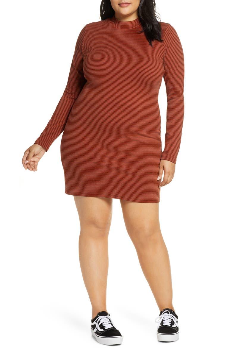 BP. Stripe Ribbed Long Sleeve Minidress, Main, color, 201