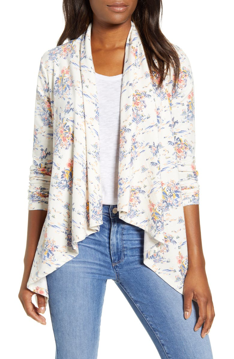 BOBEAU Waterfall Cardigan, Main, color, WATER LILY