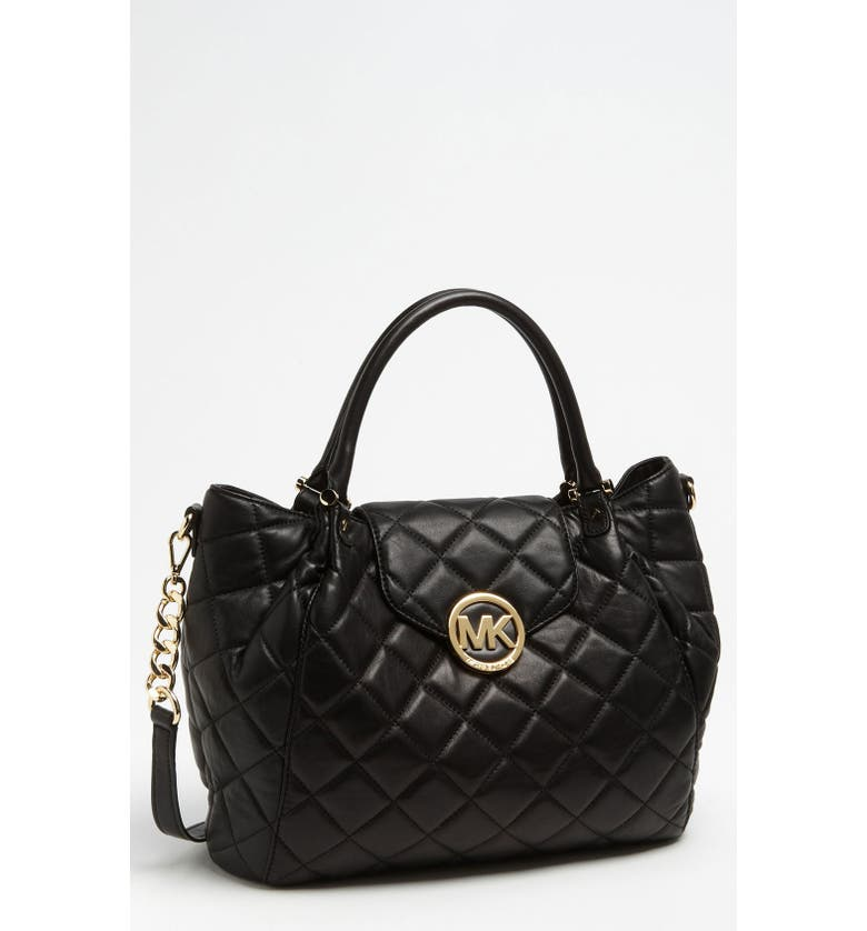 MICHAEL MICHAEL KORS 'Fulton - Large' Quilted Tote, Main, color, Black