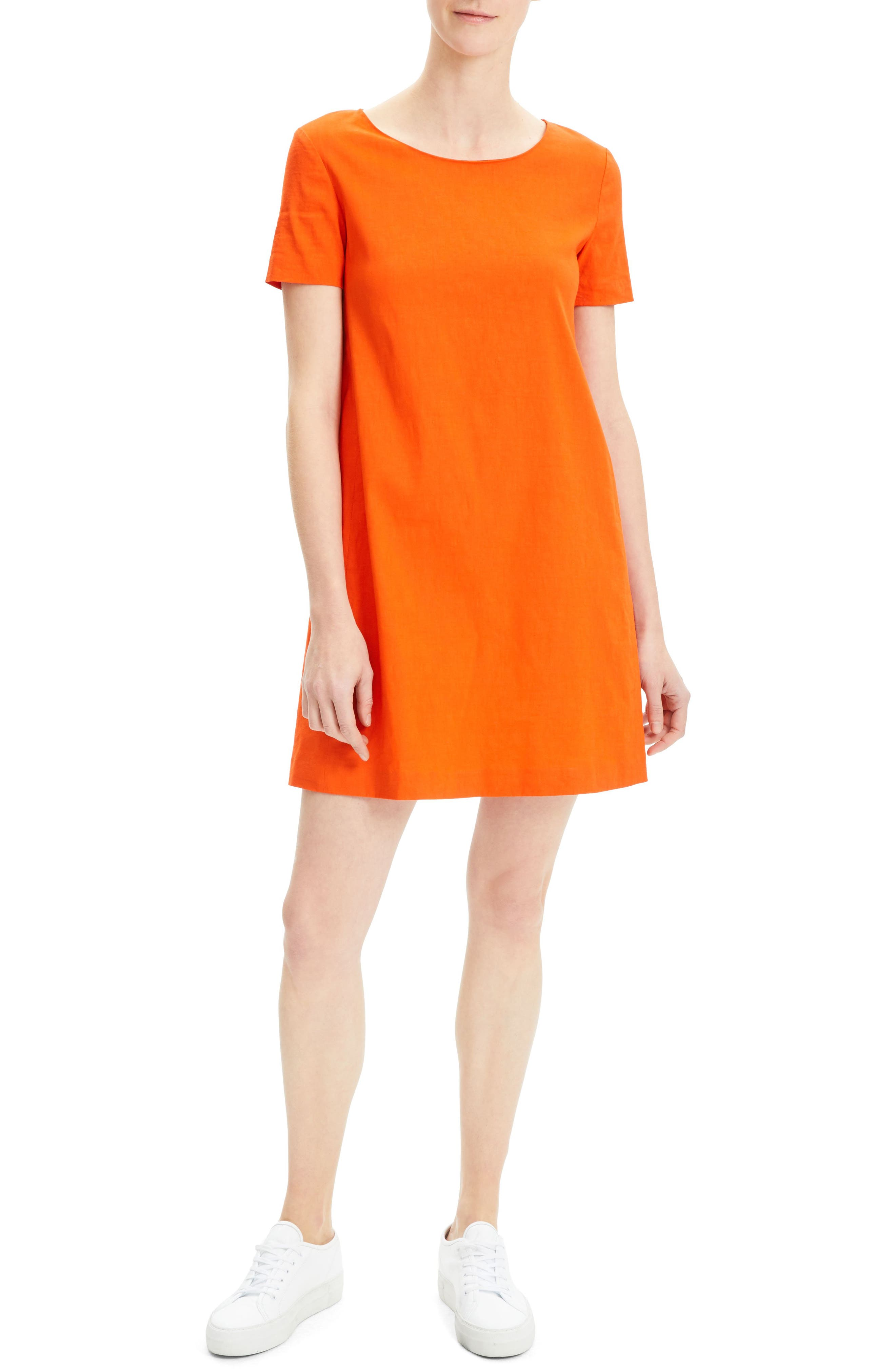 Theory Panel Shift Dress, Red
