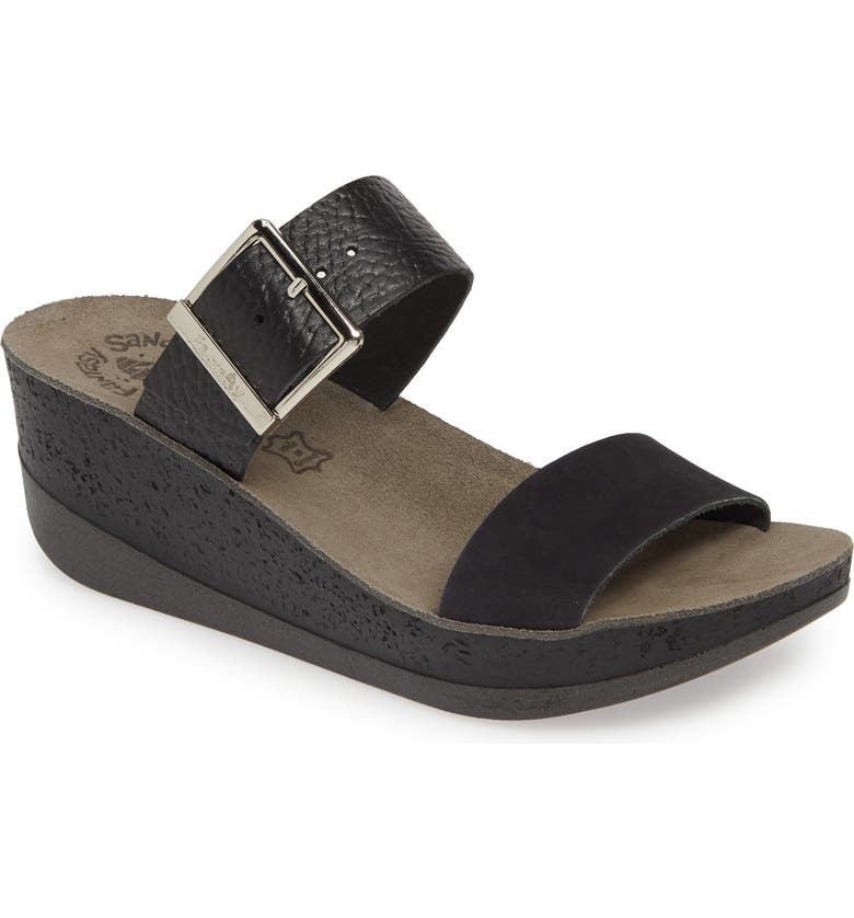 FANTASY SANDALS Artemis Wedge Slide Sandal, Main, color, BLACK VOLCANO LEATHER