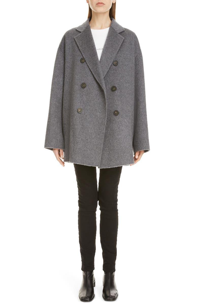 ACNE STUDIOS Odine Double Breasted Wool & Alpaca Coat, Main, color, GREY MELANGE