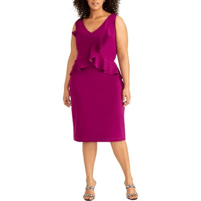 Plus Size Rachel Rachel Roy Ruffle Sheath Dress, Purple
