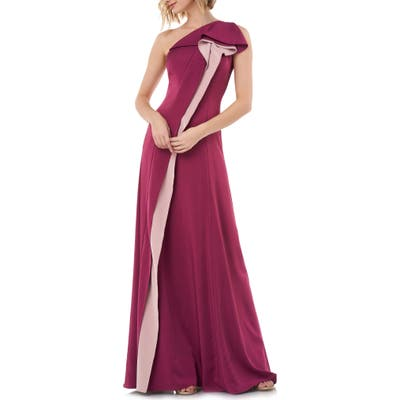 Kay Unger One-Shoulder Contrast Ruffle Faille Gown, Burgundy