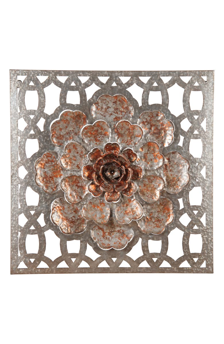 FORESIDE Flower Wall Art, Main, color, SILVER/COPPER