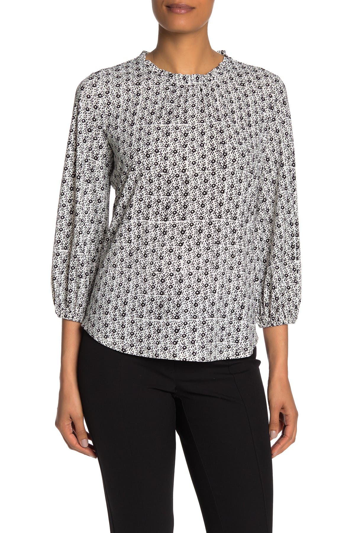 Image of Adrianna Papell Quarter Bubble Sleeve Blouse
