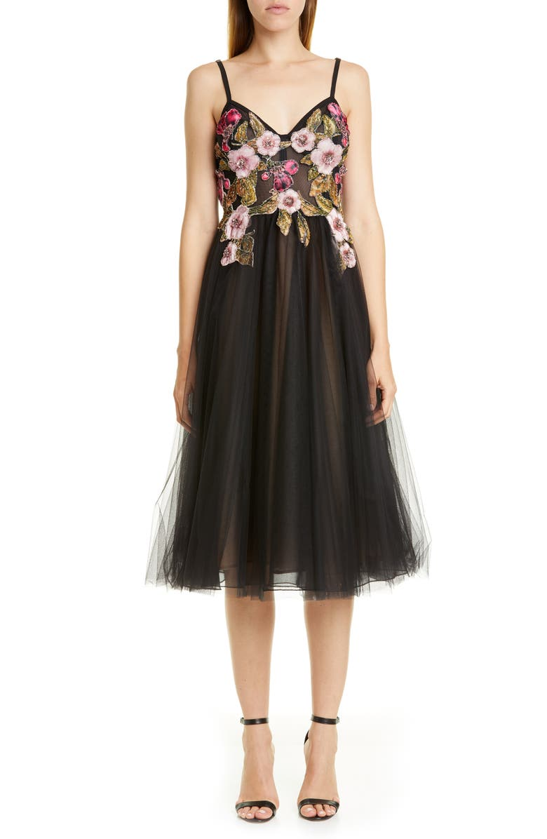 PATBO Beaded Floral Bustier Cocktail Dress, Main, color, BLACK