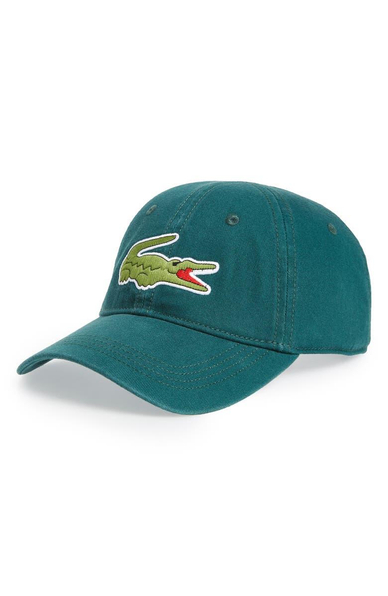 LACOSTE 'Big Croc' Logo Embroidered Cap, Main, color, BEECHE