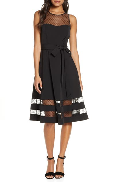 Eliza J Sleeveless Fit & Flare Party Dress In Black