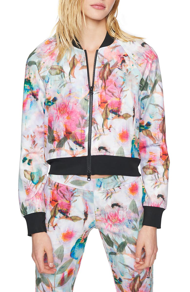 PAM & GELA Digi Floral Crop Bomber Jacket, Main, color, MULTI