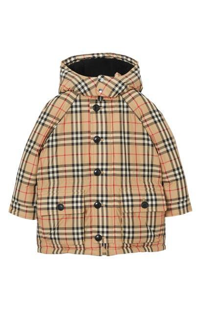 Burberry Girls' Vintage Check Down-filled Hooded Puffer Jacket - Little Kid, Big Kid In Beige