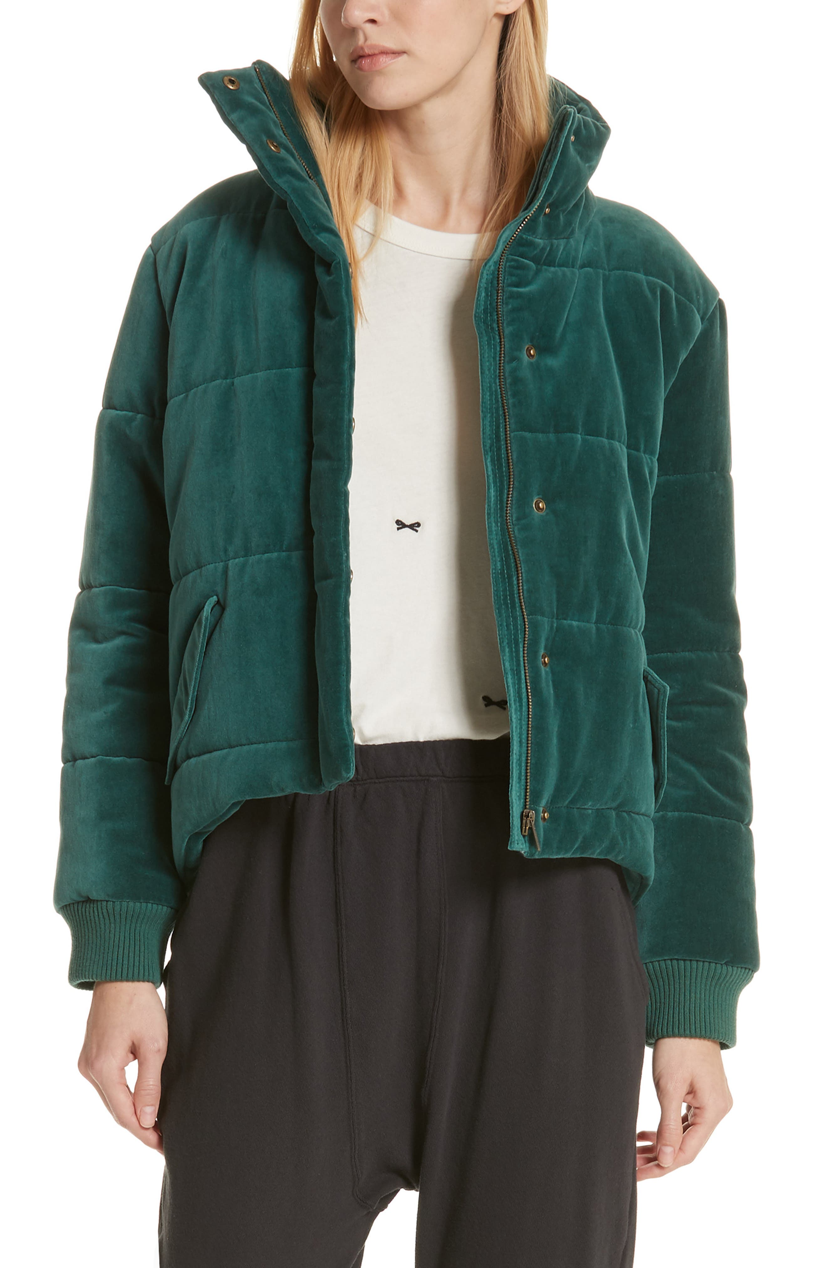 The Quilted Velvet Puffer Coat, Main, color, 300