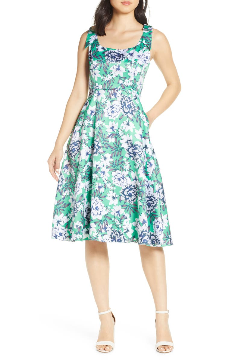 JULIA JORDAN Floral Shoulder Bow Sleeveless Dress, Main, color, GREEN MULTI