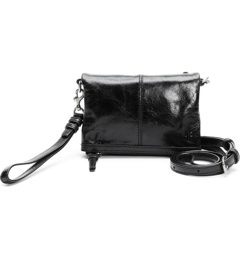 FRYE Mel Stadium Leather Crossbody Bag, Main, color, BLACK