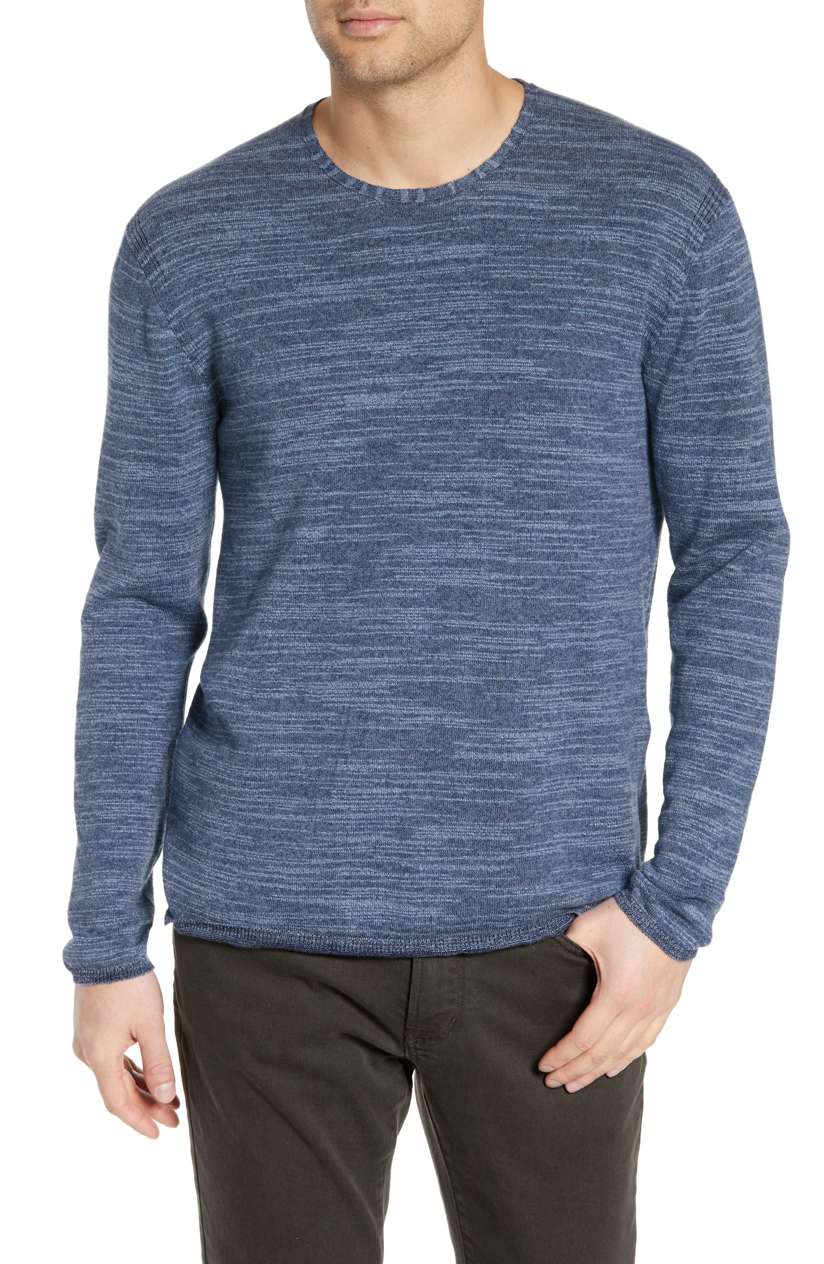 John Varvatos Star Usa Vincent Plated Slim Fit Crewneck Sweater, Blue