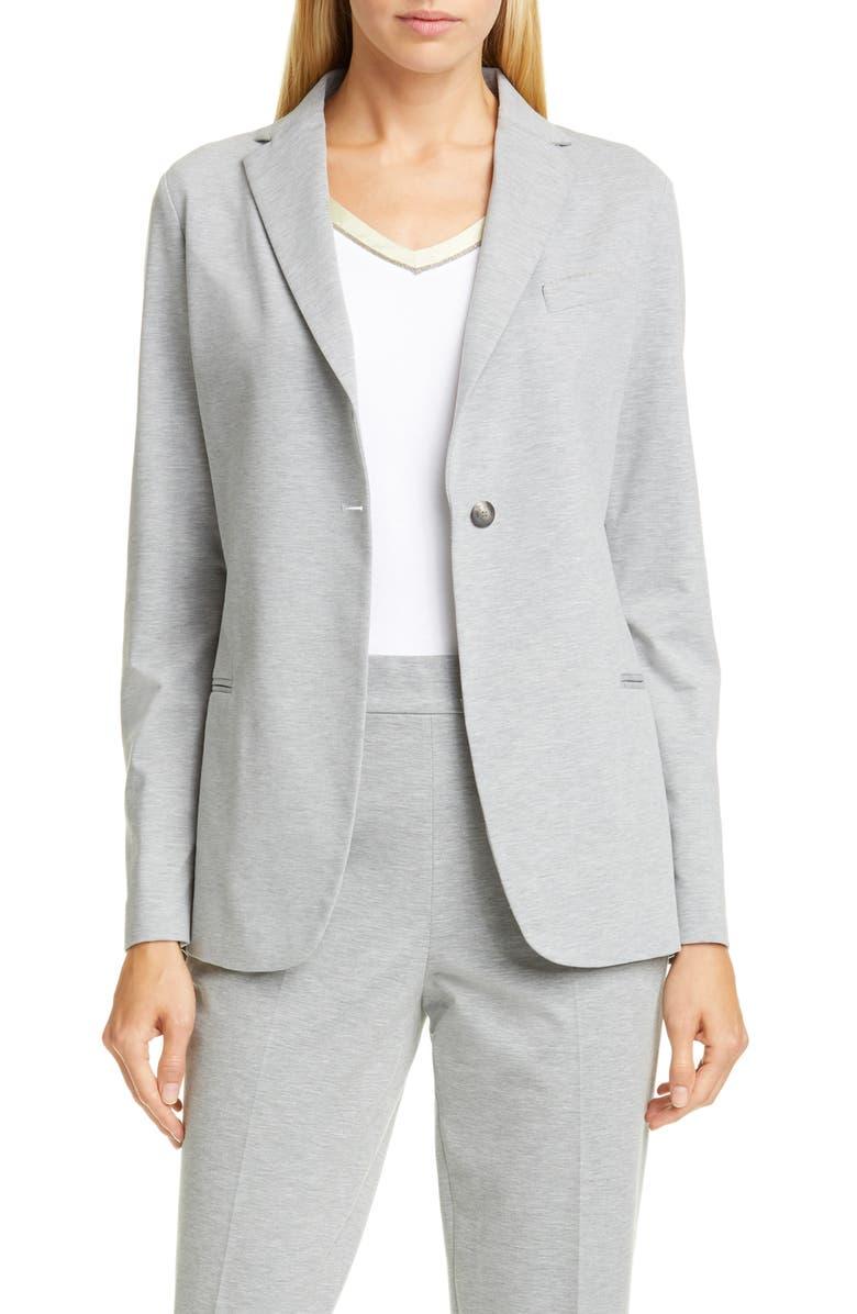 FABIANA FILIPPI Bead Detail Jersey Jacket, Main, color, GREY
