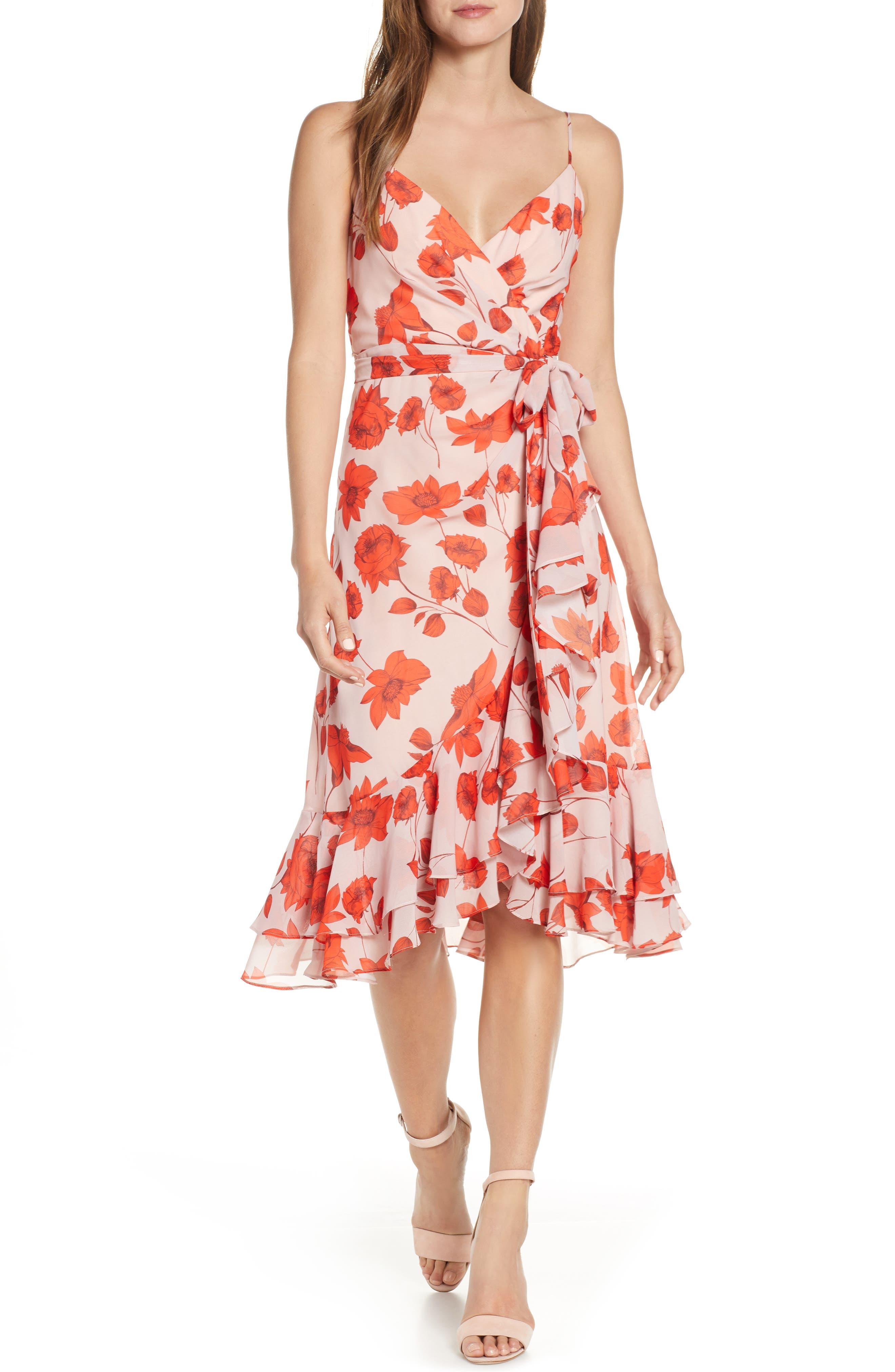 Eliza J Floral Print Faux Wrap Chiffon Dress, Pink