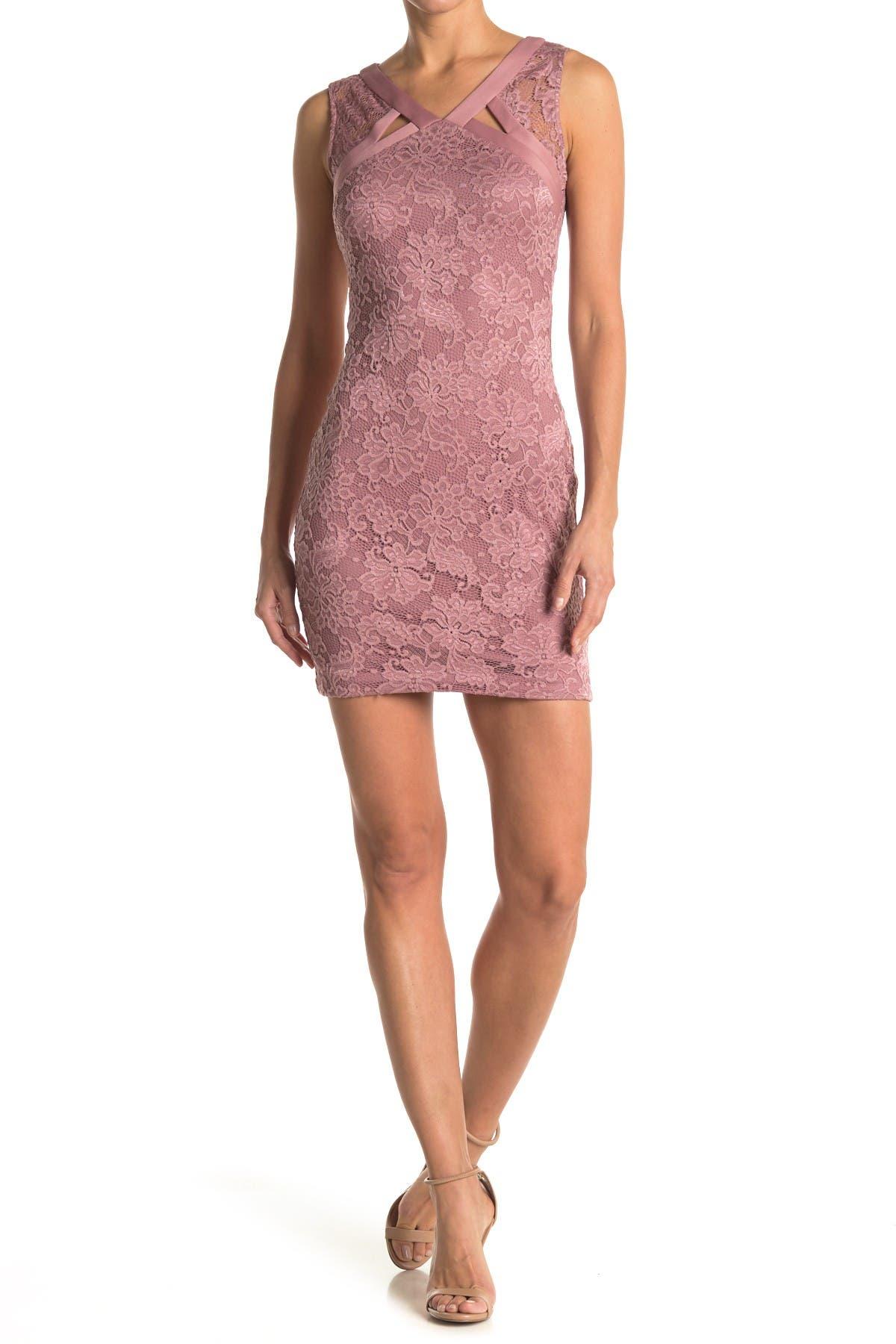 Image of GUESS V-Neck Lace Sheath Dress