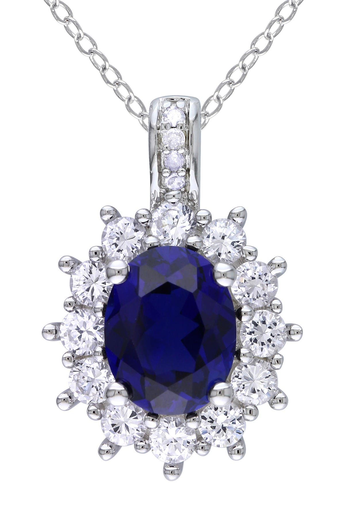 Image of Delmar Sterling Silver Oval Created Blue & White Sapphire Diamond Pendant Necklace - 0.02 ctw