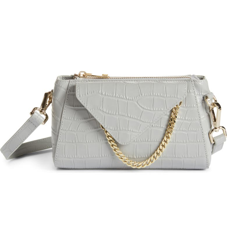 8 OTHER REASONS x Jill Jacobs Mini Croc Embossed Leather Crossbody Bag, Main, color, 080