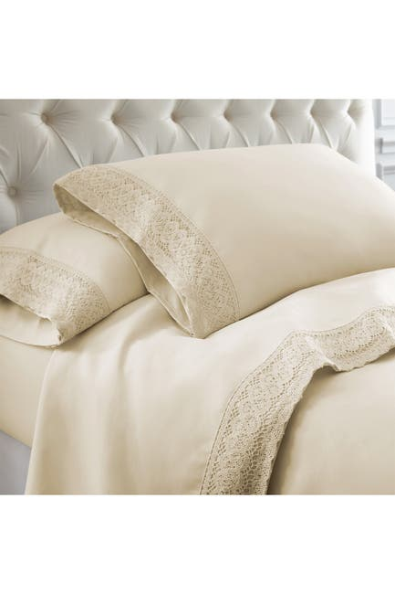 Image of Modern Threads Twin Crochet Lace 3-Piece Sheet Set - Linen