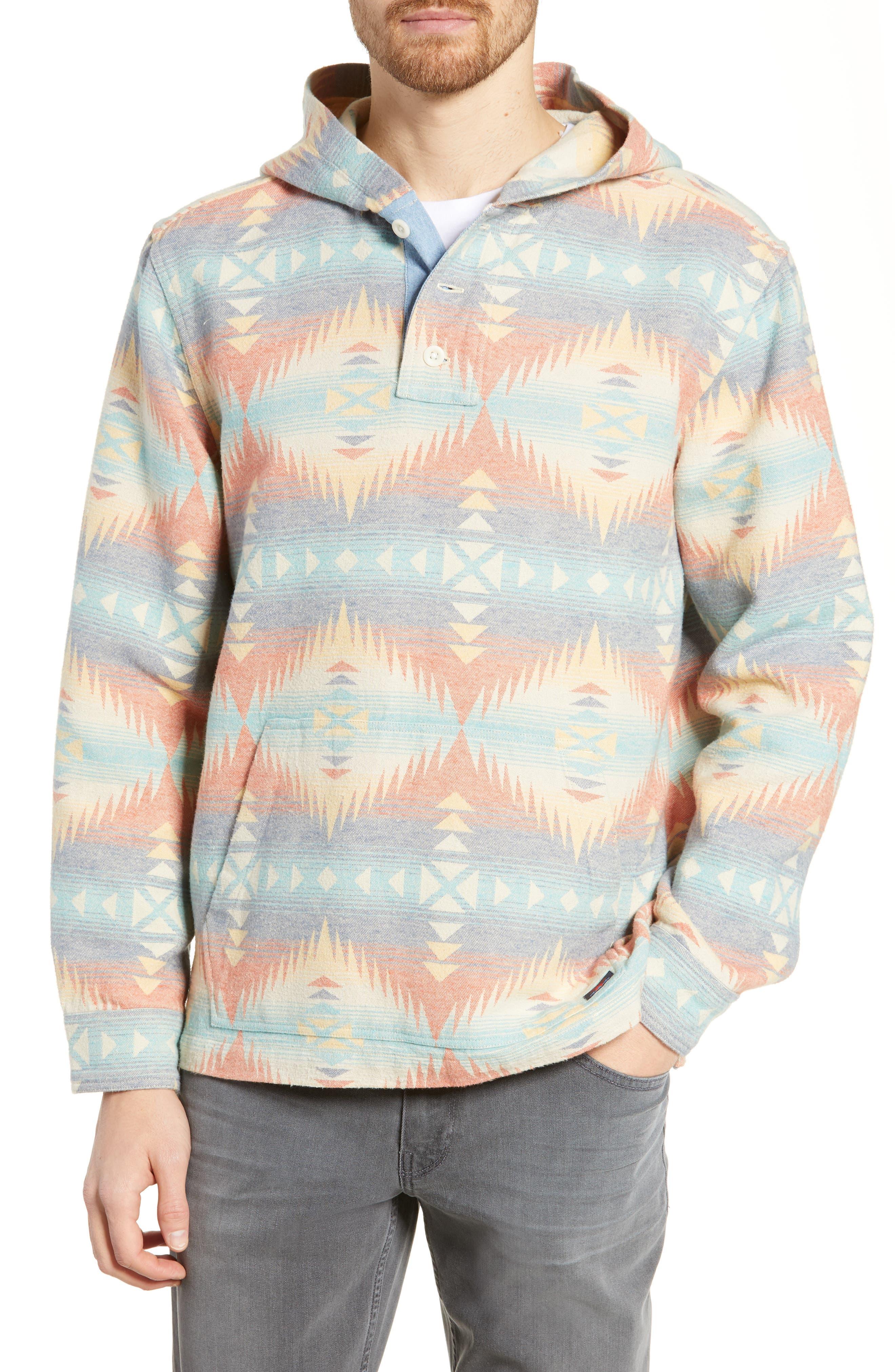 Faherty Blanket Baja Hoodie, Blue