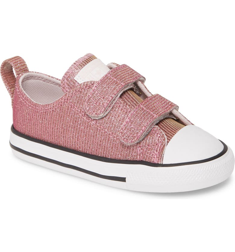CONVERSE Chuck Taylor<sup>®</sup> All Star<sup>®</sup> 2V Space Sparkle Low Top Sneaker, Main, color, BARELY ROSE/ SILVER/ WHITE