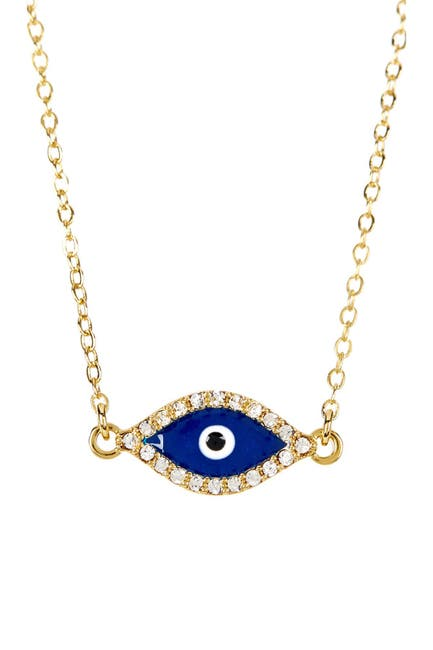 Image of Sterling Forever 14K Yellow Gold Plated Pave CZ Evil Eye Pendant Necklace