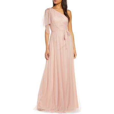 Marchesa Notte One-Shoulder A-Line Bridesmaid Gown, Pink