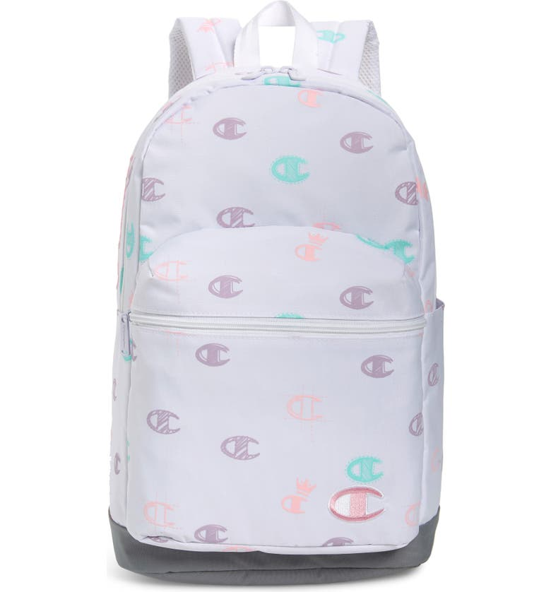 CHAMPION Youth Supercize Logo Backpack, Main, color, WHITE