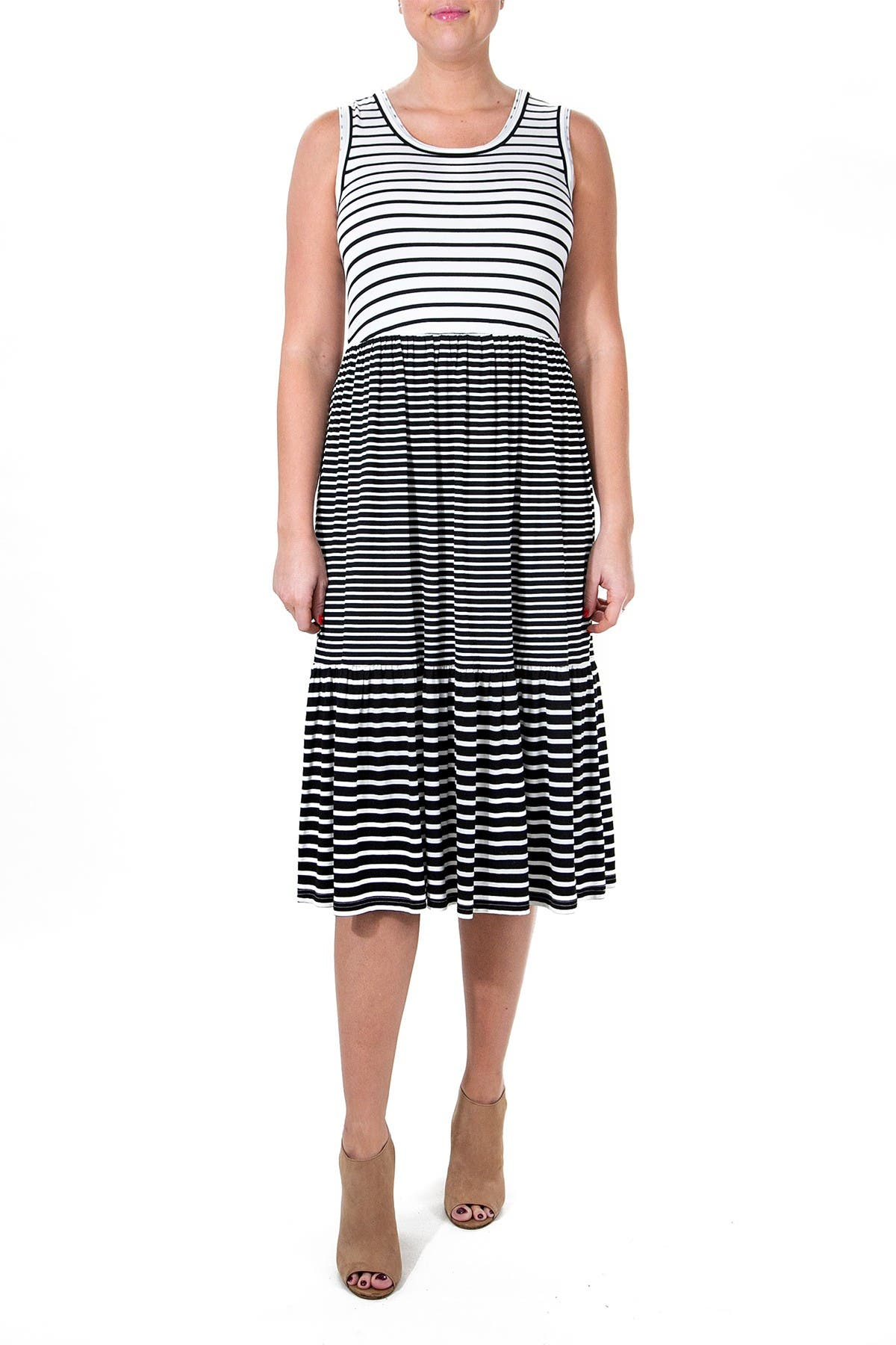 Image of Nina Leonard Mixed Stripe Scoop Neck Midi Tank Dress