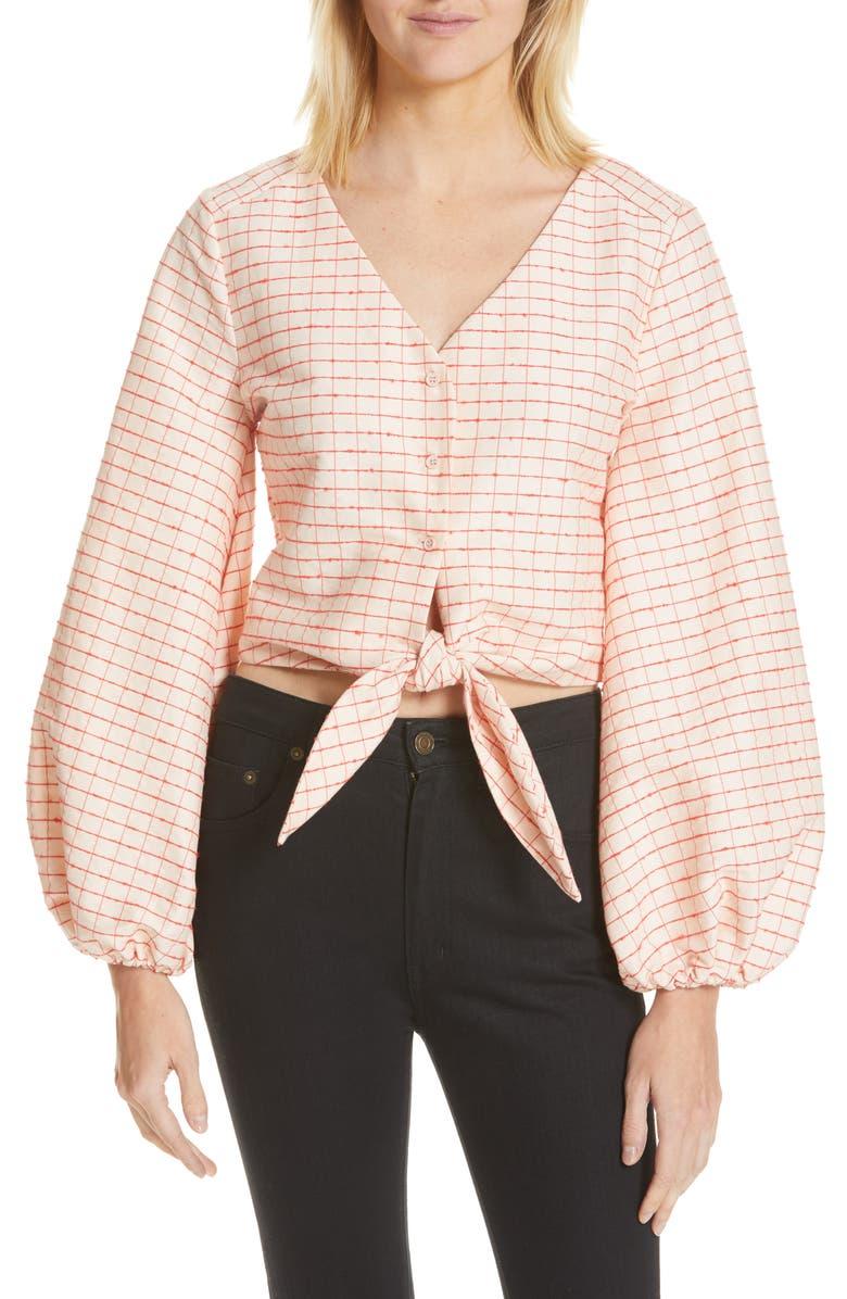 STINE GOYA Blanca Plaid Tie Waist Blouse, Main, color, CHECKS