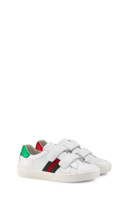 Gucci New Ace Web-trim Leather Sneaker, Toddler/kids In White Leather