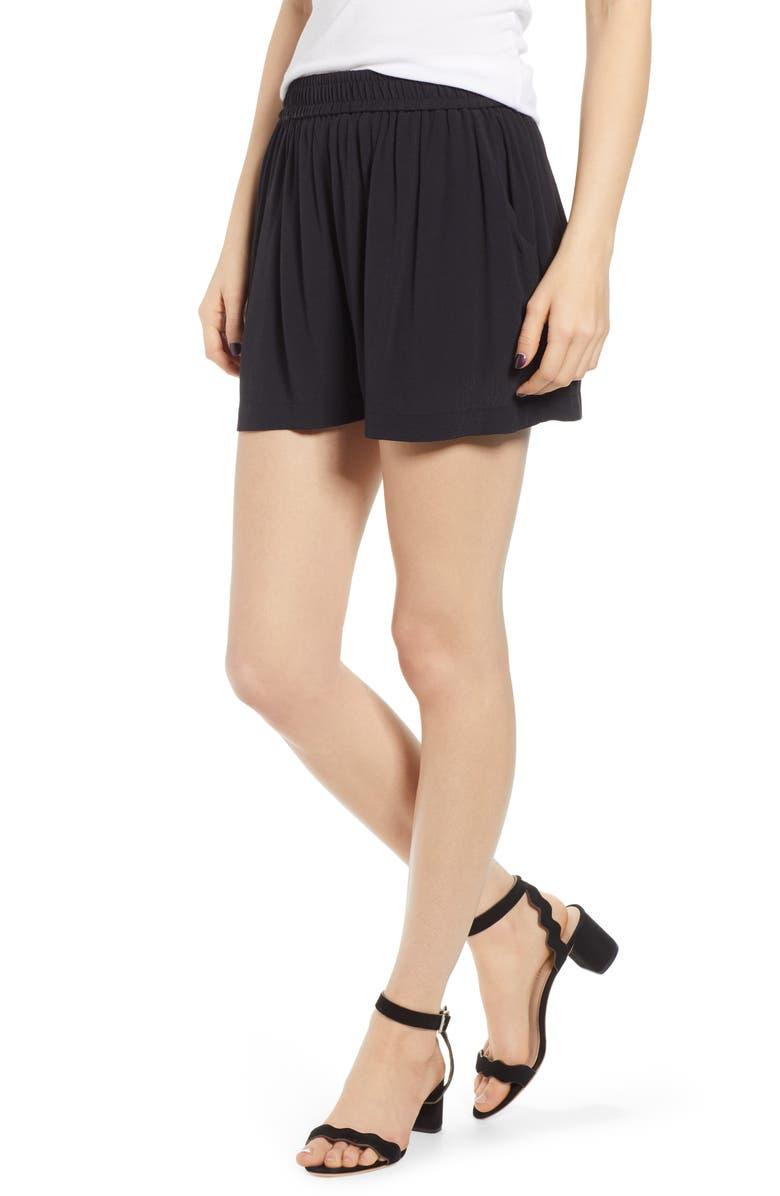 HINGE Crepe Shorts, Main, color, 001