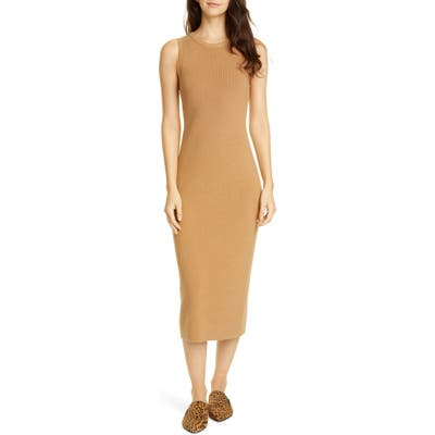 Jenni Kayne Sleeveless Cotton & Cashmere Blend Sweater Dress, Brown