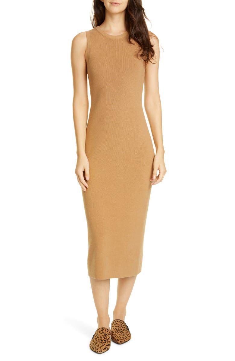 JENNI KAYNE Sleeveless Cotton & Cashmere Blend Sweater Dress, Main, color, CAMEL